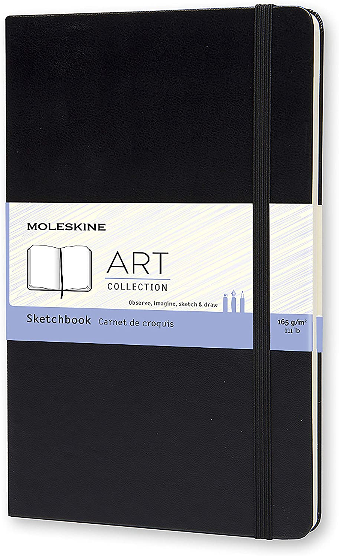Moleskine - Art Collection Sketchbook, Cuaderno de Bocetos con Tapa Dura y Cierre Elástico, Papel Adecuado para Bolígrafos, Lápices y Pasteles, Color Negro, Grande 13 x 21 cm, 104 Páginas