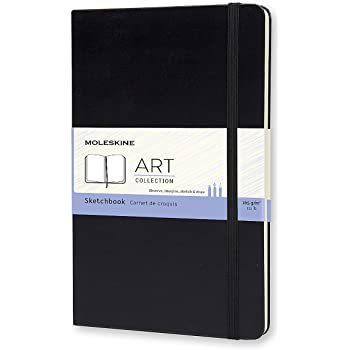 "Moleskine Art Sketchbook, Hard Cover, Large (5"" x 8.25"") Plain/Blank, Black, 104 Pages"