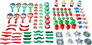 Christmas Toys Party Pack - 100-Piece Assorted Holiday Party Favors, Kids Novelty Goodie Gift Bag, Stocking Stuffers, Classroom Game Prizes for Boys and Girls