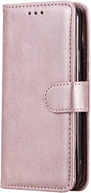 WiseSwim Leather Flip Case Fit for Samsung Galaxy S20, Rose Gold Wallet Cover for Samsung Galaxy S20