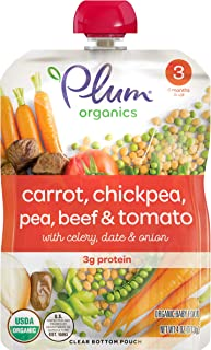 Plum Organics Stage 3, Organic Baby Food, Carrot, Chickpea, Pea, Beef & Tomato, 4 Ounce Pouch (Pack of 6)
