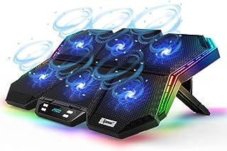 12 وضع RGB لوحة تبريد كمبيوتر محمول بشاشة LED مبرد ألعاب الكمبيوتر المحمول مع 6 مراوح عالية السرعة قابلة للتعديل، 7 ارتفاع...