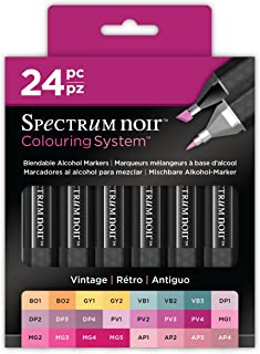 Spectrum Noir SPECN-SN24-VIN Colouring System Alcohol Marker Dual Nib Pens Box Set-Vintage-Pack of 24