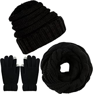 Winter Warm Knitted Scarf Beanie Hat and Gloves Set Men & Women's Soft Stretch Hat Scarf and Mitten Set