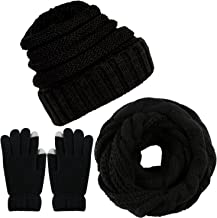 Aneco Winter Warm Knitted Scarf Beanie Hat and Gloves Set Men & Women's Soft Stretch Hat Scarf and Mitten Set