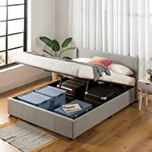 Queen Gas Lift Bed Frame - Zinus Maddon Storage Bed Frame Fabric Base Under Storage Easy Lift Light Grey