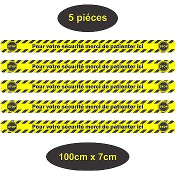 Stop Covid-19 Bande de Sol Autocollant 100x10cm gestes barri/ères Coronavirus,