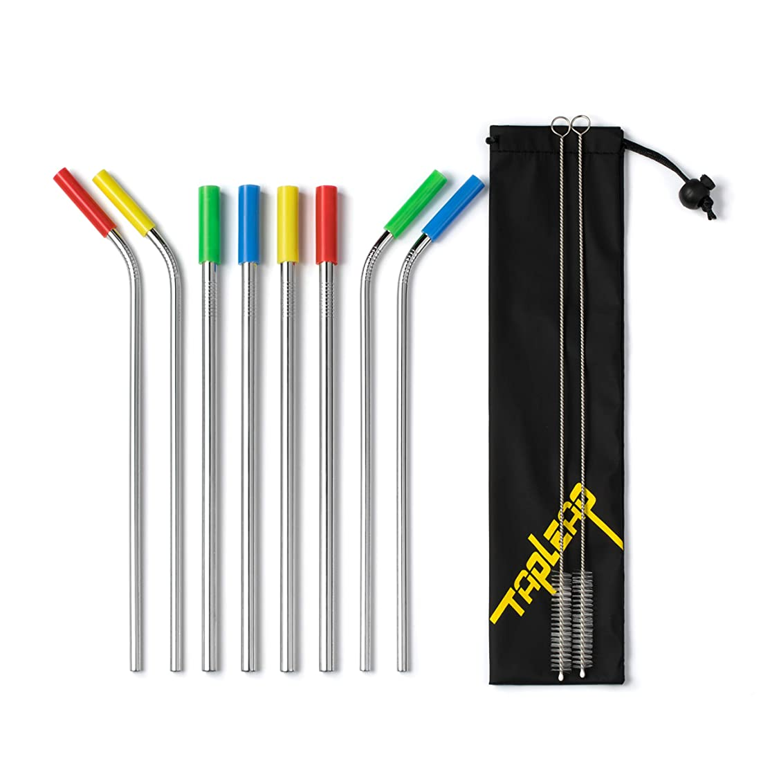 Reusable Metal Straws for Drinks With Silicone Tips, Carrying Bag and Brush (4 Straight 0.31