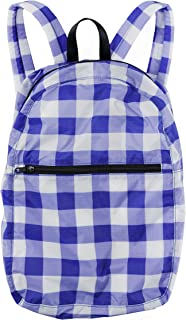 Ripstop Nylon Backpack, Lightweight Packable Backpack Ideal for Travel or the Gym, Big Check Blue