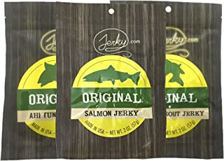 All Natural Fish Jerky Sampler - TESTER 3 PACK - Tuna Jerky, Trout Jerky and Salmon Jerky - The Best Fish Jerky on the Market - No Added Preservatives, No Added Nitrates, No MSG - 5.25 total oz.