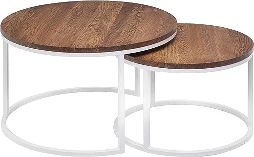 Hochwertiger Couchtisch aus Eiche & Metall – Satztisch aus Massiv Holz im 2er Set   Wohnzimmertisch aus Echtholz – Rund & Modern   Couch…