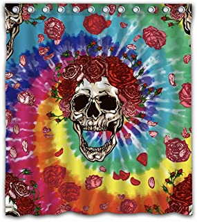 Gdcover Greatful Dead Tie Dye Design Waterproof Shower Curtain Fabric for Home Bathroom Decor 66x72 Inches