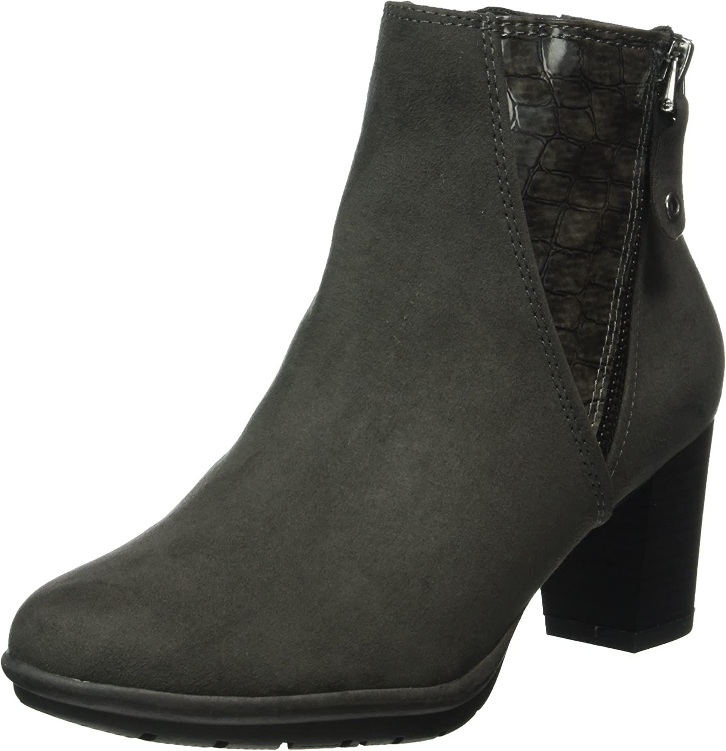 Marco Tozzi Kvinnors Anthracite grå Mid Heel Ankle Boot Boot Boot  outlet butik