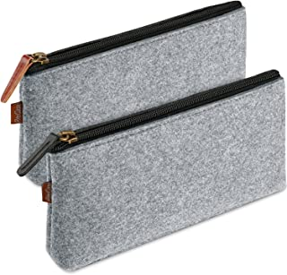 (Grey) - ProCase Pencil Bag Pen Case, Felt Students Stationery Pouch Zipper Bag for Pens, Pencils, Highlighters, Gel Pen, Markers, Eraser and other School Supplies -2 Pack, Grey