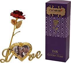 NINE10 Red Rose 24K Gold Foil/Gold Plated Rose Box and Heart Shape Photo Frame Stand