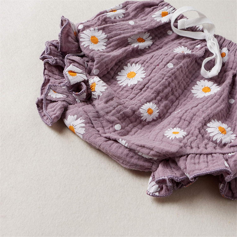 Toddler Baby Girl Cotton Linen Clothes Set Daisy Flower Print Sleeveless Ruffled Hem Tank Tops Shorts Set 2Pcs Summer Outfits