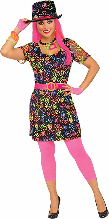 80s Costumes, 80s Clothing Ideas- Girls Forum Womens 80s Neon Flower Party Dress  AT vintagedancer.com