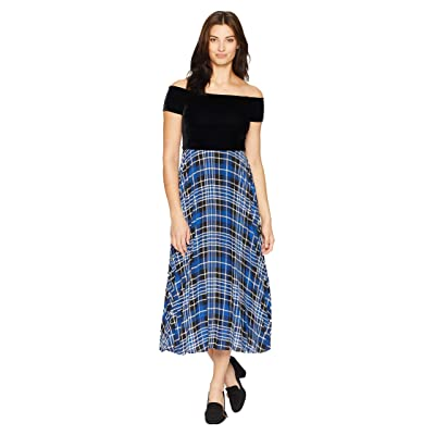 Donna Morgan Off the Shoulder Midi Dress w/ Pleated Skirt (Black/Blue Flame Multi) Women