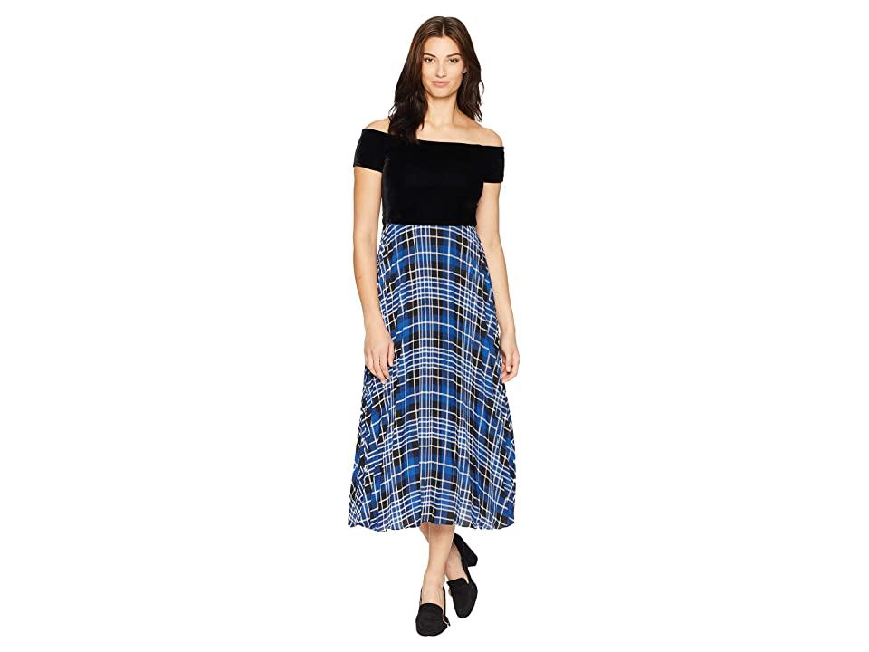 Donna Morgan Off the Shoulder Midi Dress w/ Pleated Skirt (Black/Blue Flame Multi) Women