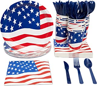 Juvale Patriotic American Party Supplies (Serves 24) Knives, Spoons, Forks, Paper Plates, Napkins, Cups