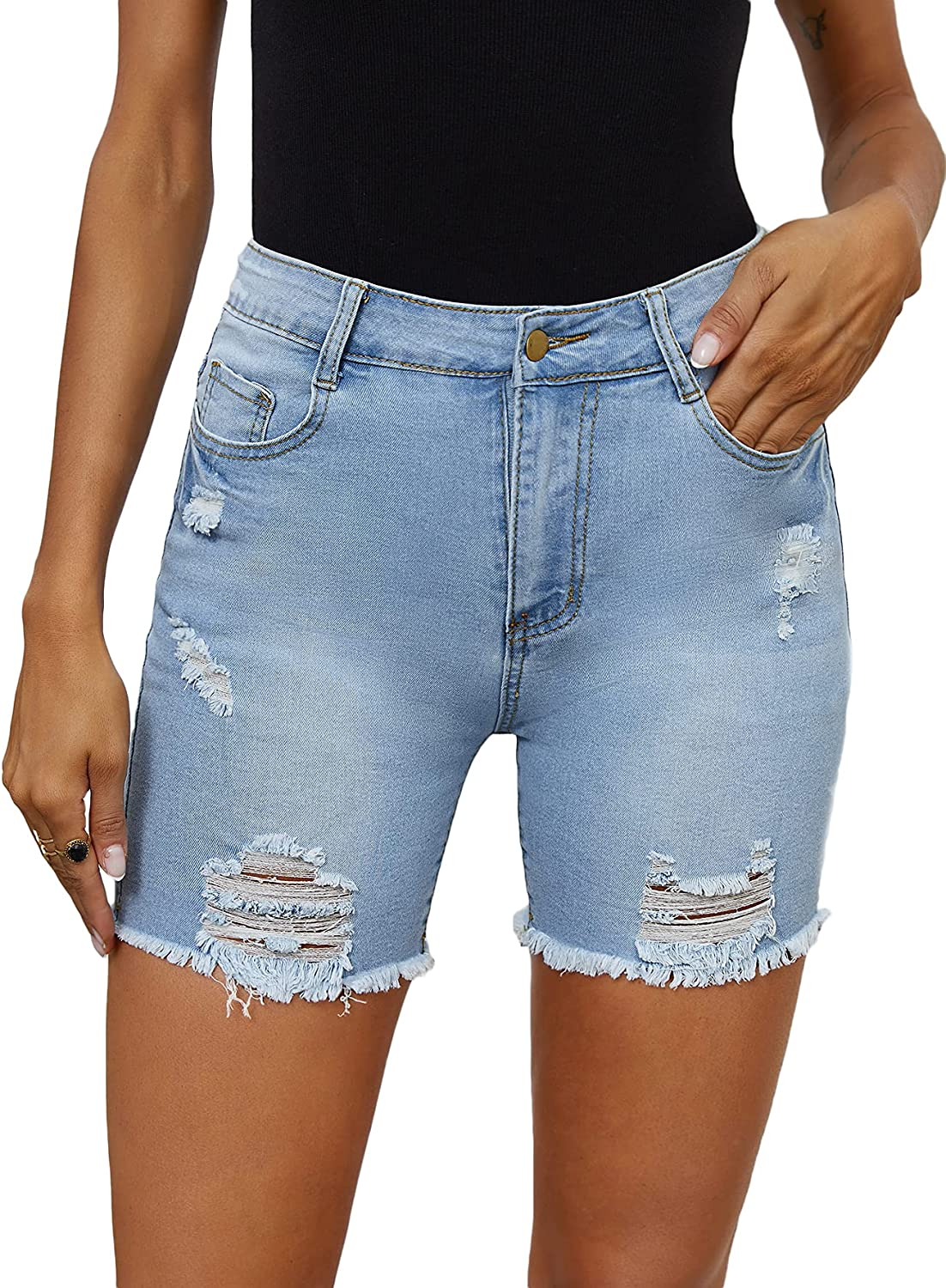 Floerns Women's Casual Denim Shorts Frayed Raw Hem Ripped Stretchy Jeans Shorts Light Blue S