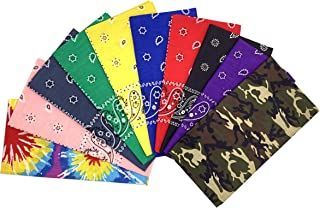Vamqor 100% Cotton 10 Pack Fine Bandanas