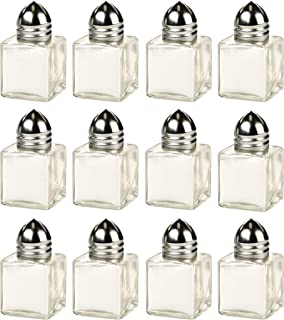 Circleware 66795 Glass Mini Salt and Pepper Shakers 12-Piece Set, Kitchen Glassware Preserving Containers, Perfect Himalayan Seasoning Spices, 0.5 oz each, Clear