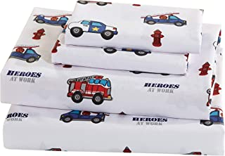 Luxury Home Collection 3 Piece Kids Twin Size Sheet Set Heroes Police Car Fire Truck Ambulance Fire Hydrant White Blue Red
