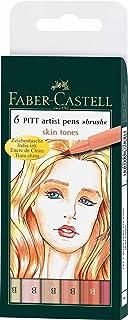 Faber-Castell India Ink Pitt Artist Pens, Set of 6 Brush Tip (B), Skin Tones (FC167162)