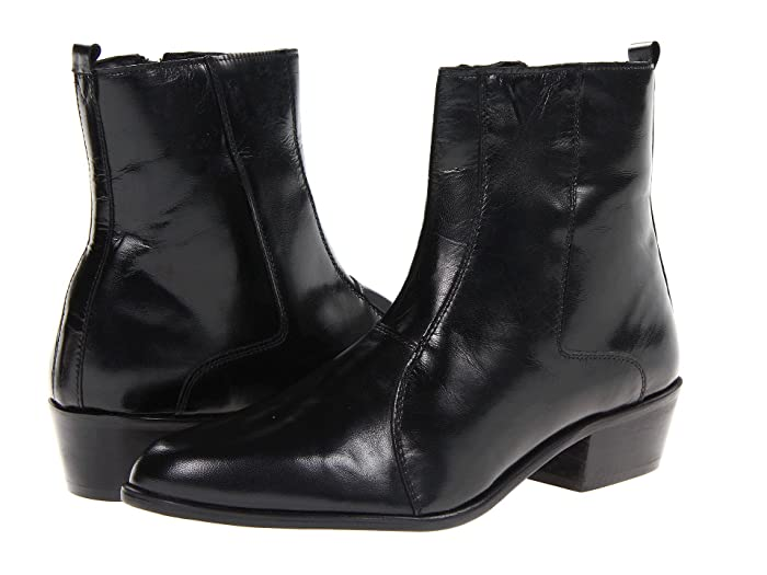 60s Mens Shoes | 70s Mens shoes – Platforms, Boots Stacy Adams Santos Plain Toe Side Zip Boot Black Leather Mens Shoes $78.86 AT vintagedancer.com