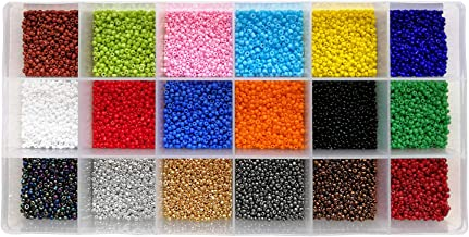 BALABEAD 18000pcs in Box 18 Multicolor Assortment 12/0 Beading Glass Seed Beads Opaque Colors 2mm Seed Beads, Hole 0.6-0.8mm (1000pcs/Color, 18 Colors)