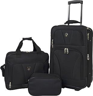 Travelers Club Bowman 3-Piece Expandable Luggage Set, Black, (Dopp/Tote/20)