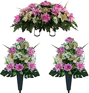 Sympathy Silks Artificial Cemetery Flowers – Realistic Elegant Orchids, Outdoor Grave Decorations - Non-Bleed Colors and Easy Fit - Two Pink Almond Orchids Bouquets and One Pink Almond Orchids Saddle