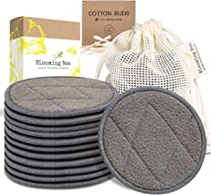 12 Charcoal Bamboo Reusable Makeup Remover Pads With Laundry Bag (+ Biodegradable Cotton Bamboo Earbuds-100 pcs)-Planet Fr...