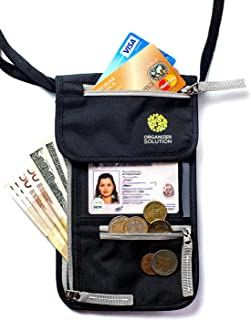 Passport Holder by Organizer Solution, Travel Wallet with Rfid, Black Neck Pouch