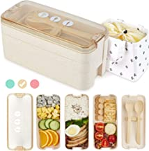 AZAWA Bento Lunch Box 1100ml/38oz, 3-Layer Bento Box with Spoon & Fork for Kids Adult & Office Worker, BPA-Free Wheat Fibe...