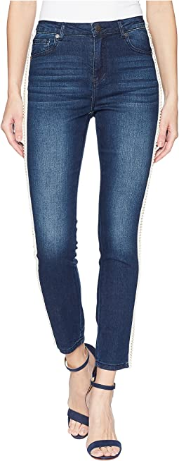 Pearl Side Trim Skinny Jeans in Medium Denim