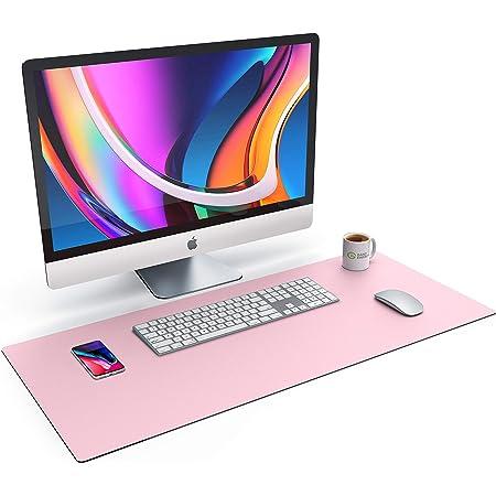 CSL – Tappetino per Mouse Ecopelle a Tinta Unita - Oversize 900x400mm – Similpelle - Tappeto Extralarge – per precisione + velocità – per Mouse e Tastiera - Rosa