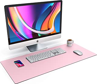 CSL Tischunterlage Schreibtischunterlage 90 x 40cm   Premium PU Leder Schreibunterlage   zusätzliche Anti Rutsch Beschichtung   wasserdicht   XXL Mauspad für Büro u Home Office 900x400 mm Rosa