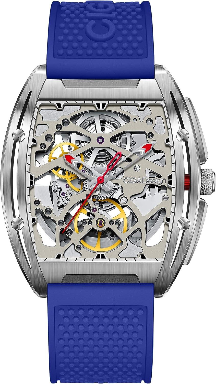 Relojs Hombres Automático Esqueleto Mecánico Analógico 3ATM Caja de Acero Inoxidable Correa de Silicona Reloj Dial Tonel Casual