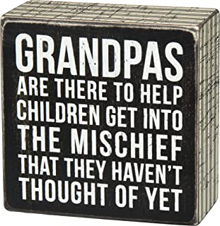 Primitives by Kathy 27218 Pinstripe Trimmed Box Sign, Grandpas,Small