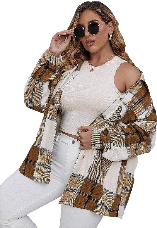 SheIn Women's Plus Plaid Button Down Long Sleeve Shacket Cardigan Jackets Outerwear