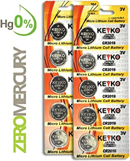 CR2016 Battery - 10 pcs Pack - 3V Lithium Buttom Coin Cell Battery Type 3.0 Volt: 2016 DL2016 ECR2016 Genuine KEYKO Supreme High Energy
