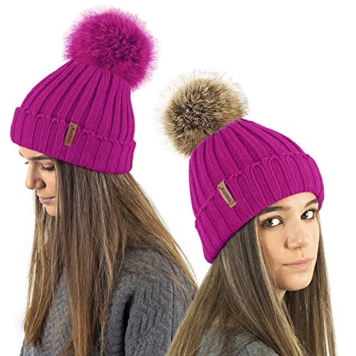 TOSKATOK® Ladies Girls Chunky 3 in 1 Rib Beanie Hat with 2 Interchangeable  Large Faux c155cfec7e0