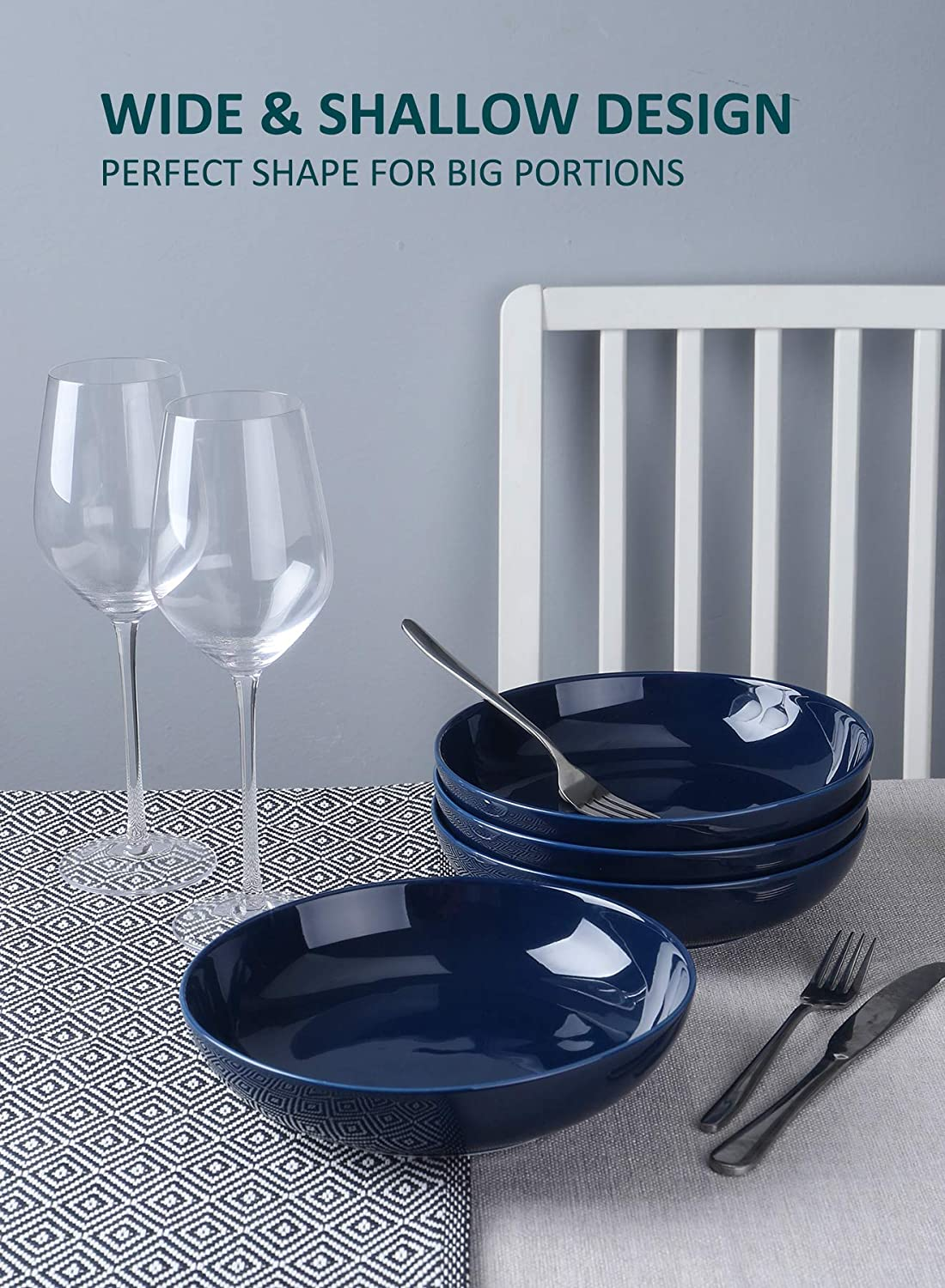 Wide and Shallow Large Porcelain Salad and Pasta Bowls Set of 4-35 Ounce Microwave and Dishwasher Safe Serving Dishes Navy