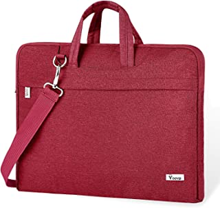 """Voova Laptop Bag,17 17.3 Inch Laptop Sleeve Carrying Case Slim Computer Messenger Shoulder Briefcase with Strap Compatible with MacBook Pro 17"""" / New Razer Blade Pro 17 Dell Asus Acer Hp Notebook, Red"""
