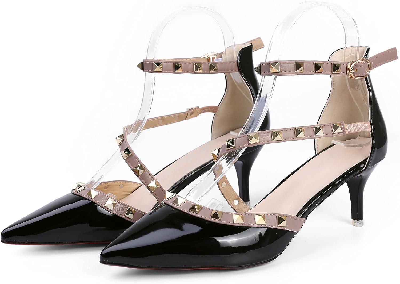 Aerusi SEK404039 Women's Slip on Fashion Dress High Heel Pumps, Size 8, Glossy Black