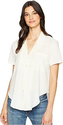 Short Sleeve Tie Front Button Down