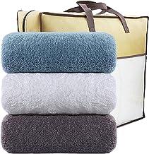LEEPWEI バスタオル 3枚セット ふわふわ 大判 綿100% 吸水抜群 ホテル仕様 タオル 柔らか肌触り 吸水速乾 重さ約360g枚 70*140 (ホワイト ブルー グレー)