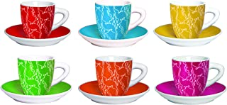 Bialetti Set 6Espresso Cups with Saucer,Multicoloured